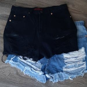 Signature8 Black High Rise Distressed Shorts